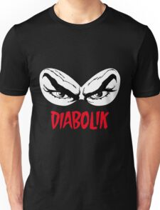 Diabolik eyes comic hero, with name Unisex T-Shirt