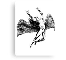 ICARUS THROWS THE HORNS - black Canvas Print
