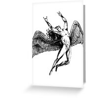ICARUS THROWS THE HORNS - black Greeting Card