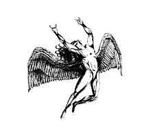 ICARUS THROWS THE HORNS - black Photographic Print