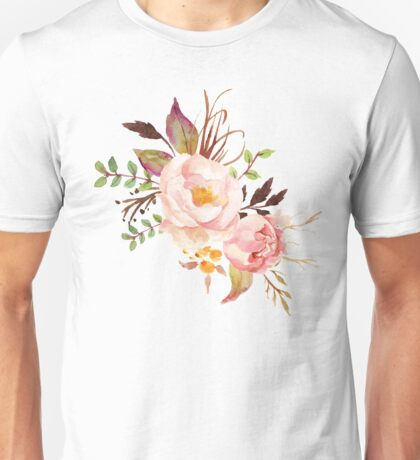 Peach Watercolor Peonies Unisex T-Shirt