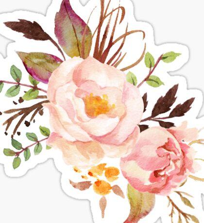 Peach Watercolor Peonies Sticker