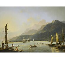 Resolution and Adventure with fishing craft in Matavai Bay, Tahiti, painted by William Hodges  Photographic Print