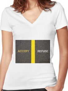 Antonym concept of ACCEPT versus REFUSE Women's Fitted V-Neck T-Shirt