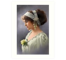 Colorized Vintage Young Beauty III Art Print