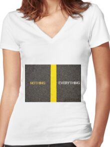 Antonym concept of NOTHING versus EVERYTHING Women's Fitted V-Neck T-Shirt