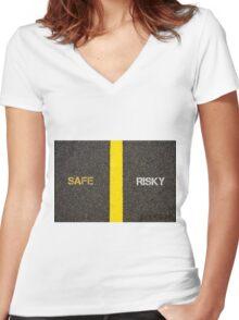 Antonym concept of SAFE versus RISKY Women's Fitted V-Neck T-Shirt