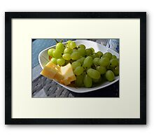 Yellow grapes and cheese. Framed Print