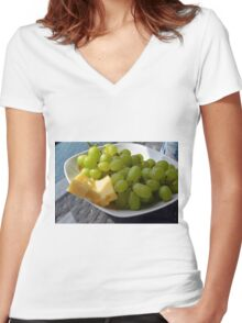 Yellow grapes and cheese. Women's Fitted V-Neck T-Shirt