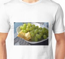 Yellow grapes and cheese. Unisex T-Shirt