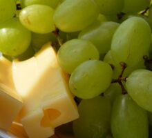 Yellow grapes and cheese. Sticker