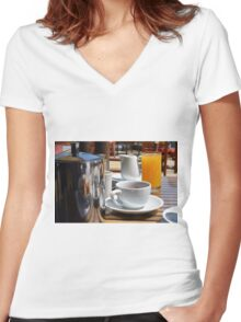 Coffee cup and orange juice breakfast drinks. Women's Fitted V-Neck T-Shirt