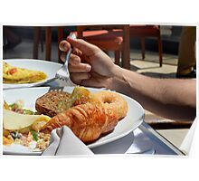 Man eating breakfast, plate with croissant, omelette, bread. Poster