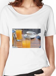 Coffee cup and orange juice breakfast drinks. Women's Relaxed Fit T-Shirt