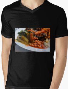 Lunch full plate with beans, vegetables, pasta. Mens V-Neck T-Shirt