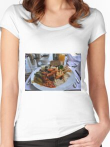 Lunch full plate with beans, vegetables, pasta. Women's Fitted Scoop T-Shirt