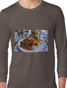 Lunch full plate with beans, vegetables, pasta. Long Sleeve T-Shirt