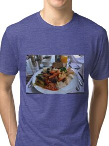 Lunch full plate with beans, vegetables, pasta. Tri-blend T-Shirt