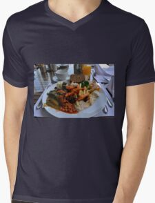 Lunch full plate with beans, vegetables, pasta. Mens V-Neck T-Shirt
