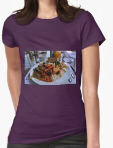 Lunch full plate with beans, vegetables, pasta. Womens Fitted T-Shirt