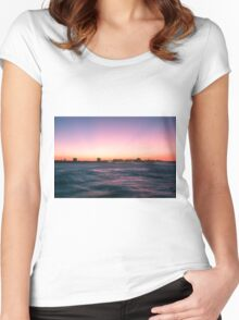 Mooloolaba beach at dusk Women's Fitted Scoop T-Shirt