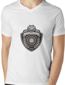 Gator Head Coat of Arms Retro Mens V-Neck T-Shirt
