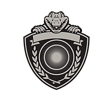 Gator Head Coat of Arms Retro Photographic Print