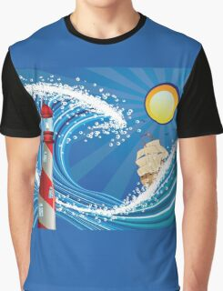 Lighthouse and Boat in the Sea Graphic T-Shirt