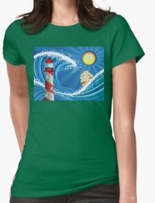 Lighthouse and Boat in the Sea Womens Fitted T-Shirt