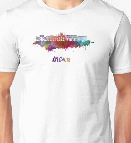 Milan skyline in watercolor Unisex T-Shirt