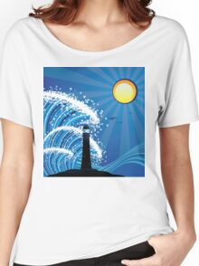 Lighthouse in the Sea Women's Relaxed Fit T-Shirt