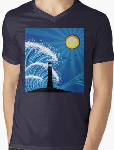 Lighthouse in the Sea Mens V-Neck T-Shirt