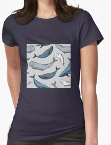 Whales are everywhere Womens Fitted T-Shirt