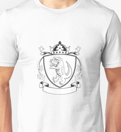Alligator Standing Coat of Arms Black and White Unisex T-Shirt