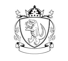 Alligator Standing Coat of Arms Black and White Photographic Print