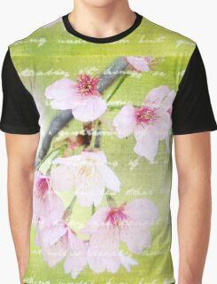 Pale Pink Sakura Cherry Blossoms Antique Handwritten Letter Graphic T-Shirt