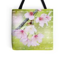 Pale Pink Sakura Cherry Blossoms Antique Handwritten Letter Tote Bag