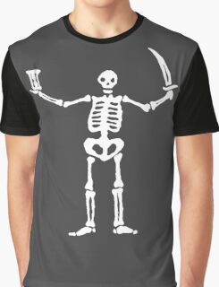 Black Sails Pirate Flag White Skeleton Graphic T-Shirt