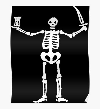 Black Sails Pirate Flag White Skeleton Poster