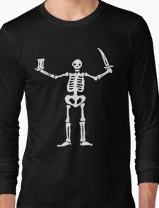 Black Sails Pirate Flag White Skeleton Long Sleeve T-Shirt