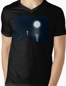 Lighthouse and Full Moon Mens V-Neck T-Shirt