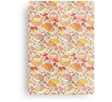 Woodland Hedgehogs - a pattern in soft neutrals  Metal Print