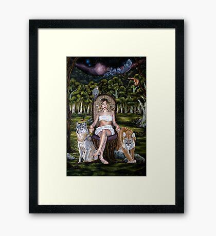 Forest Goddess with Predator Animals Framed Print