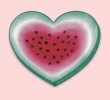 Summer Love - Watermelon Heart One Piece - Short Sleeve