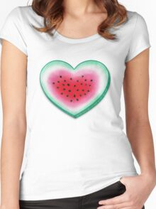 Summer Love - Watermelon Heart Women's Fitted Scoop T-Shirt