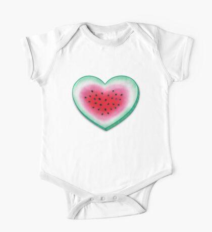 Summer Love - Watermelon Heart One Piece - Short Sleeve