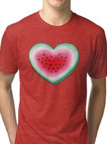 Summer Love - Watermelon Heart Tri-blend T-Shirt