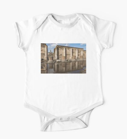 Reflecting on Ancient Pompeii - Basilica Marble Columns Symmetry One Piece - Short Sleeve