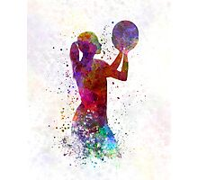 Young woman basketball player 03 in watercolor Photographic Print