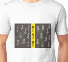 Concept image with road marking yellow line  Unisex T-Shirt
